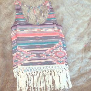 Aztec fringe cropped top